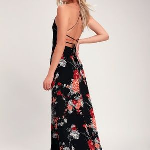 Lulus Black Multi-Floral Print Maxi Dress XS